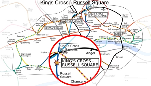 king's cross / russell square map