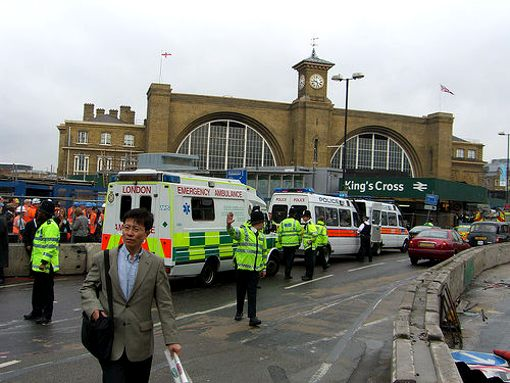 ambulances lined up outside king's cross