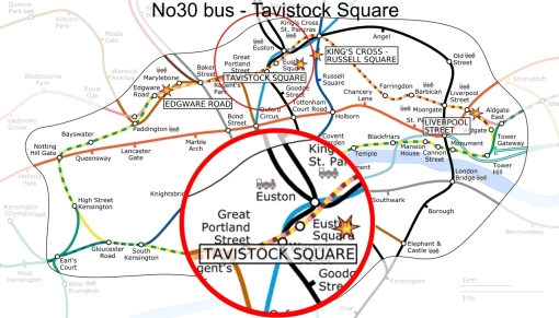 number 30 bus explosion map - tavistock square